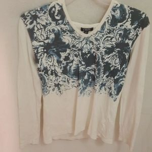CHAPS Hooded L/S Tee w/floral Bodice